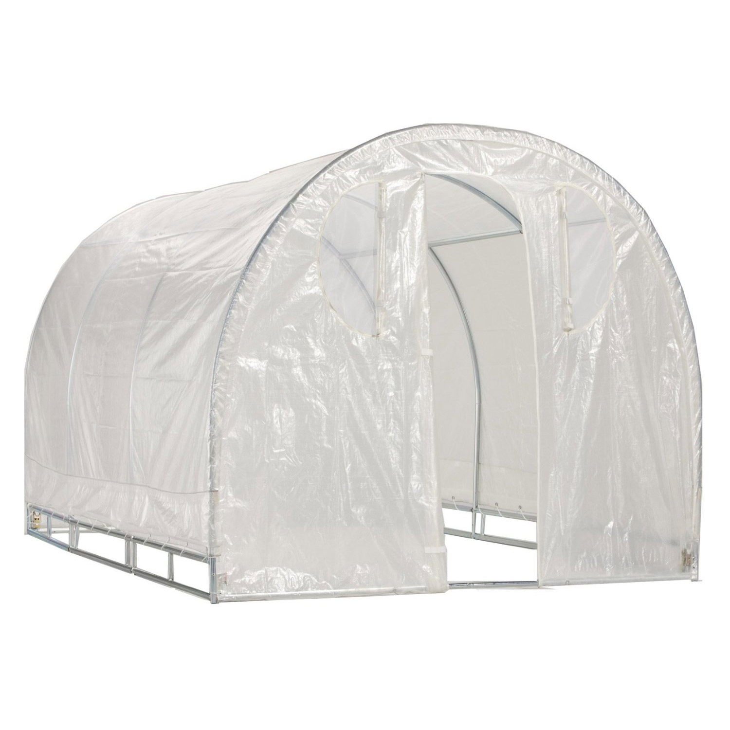 Poly-tunnel Hoop House Style Greenhouse (6' x 8'), PTHSG6X8 :  Designed as the highest quality, most compact, space saver green house packaged in a retail box. This Polytunnel hoop-house cold-frame style High-Tunnel features a space saver design.  The modern greenhouse offers all of the same quality, workmanship, and results as the Commercial Series Green House while appealing to beginner, novice, and professional growers alike. Each Deck and Patio greenhouse is constructed from 100% commercial grade galvanized steel frame – featuring quick connect steel frame and steel frame connectors. It includes a rugged all weather triple layer Polyurethane, cover, back panel, and front entry. Rust resistant galvanized steel. The frame components and frame connectors are galvanized after being welded. This Greenhouse provides maximum protection, growth, and reliability by using a complete three piece all growth fabric construction with unit-body cover, solid connected back panel, and solid connected front entry – allowing for easy access and maintenance of plants, vegetables and herbs. It also utilizes Smart Vent – technology controlling airflow from the base of the unit and the ends of the unit with special zip out Velcro held screened vented windows. In addition the triple ridge reinforced roof structure not only acts as a weather guardian protecting against severe and inclement weather but also allows growing enthusiasts to hang their full size basket plants from the roof of the green house. All-steel construction with flex frame design and 1-1/4-inch, 16-gauge steel for stability. 14-gauge inside steel slip fitting joints for rugged rigidity and easy setup.