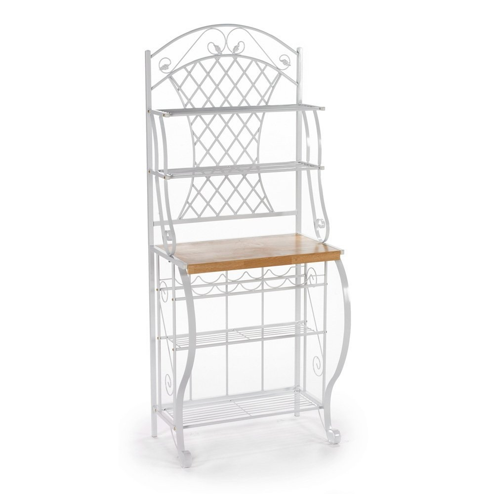 Crafted for style and function, this White Metal Bakers Rack with 5 Shelves for Kitchen or Pantry is a welcome addition to any kitchen. Constructed of metal for durability, the frame contains many ornate details such as the scrolled legs, shelf braces, and decoration. The top edge has a decorative arch with leaf accents that sits atop the attractive trellis back. This lovely bakers rack has 4 wire shelves, a 5 bottle wine rack, and an ample counter space for all your storage needs.