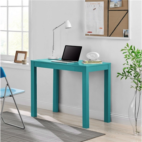 Redefine your workspace or any room in your home with the sleek, minimalist lines of this Teal Green Home Office Laptop Desk Writing Table with Drawer. This Desk is designed with classic parsons styling that includes a simple silhouette with clean lines. The Desk features a small center storage drawer that's perfect for pens, paper, computer peripherals and other small office supplies. The Desk also works great as a side table in your living room. This compact Desk is conveniently sized to fit in any room. The vibrant Teal finish brings bold sophistication to your room when paired with neutrals.