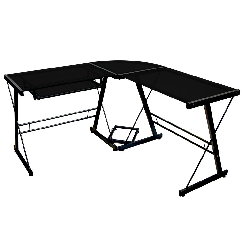 This Modern Corner L-Shaped Metal Glass Top Computer Desk offers a sleek modern design crafted with durable steel and thick tempered safety glass. The L-shape provides a corner wedge for more space and the design creates a look that is both attractive and simple. Flexible configuration options allow you to mount the keyboard tray on either side of the desk. Also included are a universal autonomous CPU stand and a sliding keyboard tray. This desk compliments any room and is a great addition to any home office.