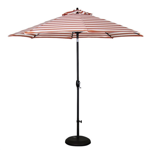 Orange White Striped 9-Ft Patio Umbrella with Push Button Tilt, OWP851494841 :  Create a shady oasis in your outdoor living space by adding this Orange White Striped 9-Ft Patio Umbrella with Push Button Tilt! It features a sturdy, powder coated finish aluminum pole that can be tilted to adjust as the angle of the sun changes. The umbrella fabric resists weather and fading, so it can be left outdoors all year long. An easy-to-use hand crank makes opening and closing the umbrella very simple! With its pole, this umbrella will work with any standard patio set! Optional base is not included and must be purchased separately; 9 Durable ribs high quality fabric; Center pole and hardware comes in powder coated dark ash finish; Aluminum frame; Fabric material: Olefin; Umbrella Type: Market; Canopy Material: Olefin; Canopy Shape: Round; Pole Material: Metal; UV Resistant: Yes; Rust Resistant: Yes; Fade Resistant: Yes; Lift Method: Crank lift.