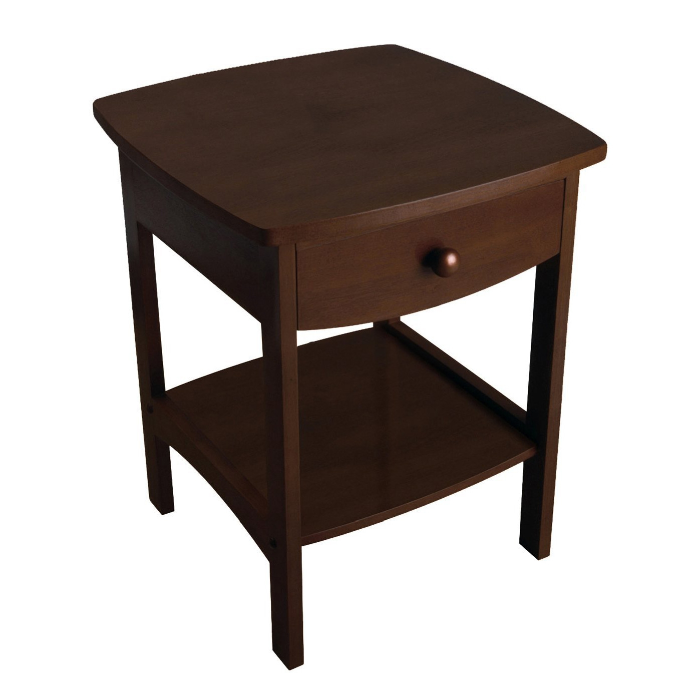 Combining solid/composite wood construction with a tidy and practical style, this Walnut Finish Accent Table Nightstand with One Drawer makes a fresh and clean addition to the room. The oversized tabletop features a straight-edged square shape, while below the four rectangular legs host a deep storage drawer and open shelf. For subtle flair, the drawer front and lower side rails are sculpted with a wide curve that softens the table's overall look. Also notice how the wood nailhead accents and a simple drawer pull offer a tailored finish. Classic enough to stay in style no matter how the furnishings around it change, this table comes in four handsome finishes: Natural, Walnut, Black, and White. Simple carved rails complement roomy storage drawer and open shelf; Some assembly required.