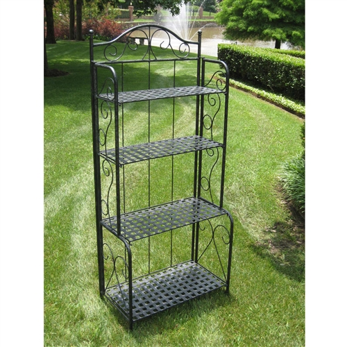 This Indoor / Outdoor Folding Metal Bakers Rack with 4-Tier Lattice Shelves in Black Iron is perfect for any space lacking storage or decorative flair. Its four spacious shelves are perfect for cookbooks, or cherished collectibles inside or gardening tools and empty pots outside. The convenient folding feature makes it easy to transport and store this multi-functional piece. This also makes a great potting bench with workspace and storage for your pots. Choose from 3 color finishes.