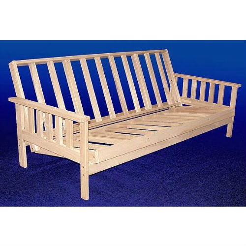 This item includes the Full size Solid Wood Futon Sofa Bed Frame with Armrests - Unfinished solid hardwood frame only. (if you want a mattress and cover you will need to order them separately). THREE POSITIONS - Our unique design allows the sofa to be easily adjusted from fully upright to a comfortably reclined position. When you are ready for bed, nothing could be easier, simply lift the front edge and slide back. This sofabed goes from upright to reclined to bed in seconds!