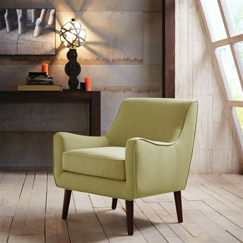 Featuring mid-century-inspired curves, this Modern Mid Century Style Green Fabric Upholstered Arm Chair with Wood Legs adds a soft contrast to a clean-lined upholstered room. Flame retardant: Yes; Chair Design: Arm chair; Upholstered: Yes; Upholstery Material: Polyester/Polyester blend; Cushion or Upholstery Fill Material: Foam; Pattern: Solid. Non-Toxic: Yes; Removable Seat Cushion: Yes; Removable Back Cushion: No; Reversible Cushions: No; Welt on Cushions: Yes. Arm Material: Fabric; Wood; Arm Type: Track arms; Legs Included: Yes; Leg Finish: Espresso; Leg Material: Wood.