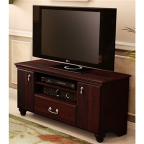 Featuring classic lines and abundant storage for electronic equipment, DVDs, CDs, books or clothes, this 48-inch Eco-Friendly TV Stand in Dark Mahogany is even suited for placement at the foot of your bed and allows you to organize your belongings to make sure your bedroom remains a clutter-free, peaceful retreat. Gleaming metal pulls add a fresh, bright accent to the deep, dignified finish, giving the collection a hint of lustre in contrast to its traditional styling. Environmentally Preferable Product (EPP) certification –Already meeting the very strict 2009 California Formaldehyde Regulations; Greener communication tools – Reduced format on recycled paper and conversion to electronic format. A Green Future in mind: A member of the Composite Panel Association whose mission is to work towards more ecological and environment-friendly panel solutions. Constructed of wood composite; 1 practical drawer; 1 adjustable shelf behind the 2 doors; 2 easily accessible open storage spaces; Metal handle.