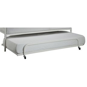 This listing is for the bottom Pull Out Trundle Bed Only. Daybed Sold separately (see below) Optimize your space with this versatile twin-size trundle bed. When paired with the matching daybed (sold separately), they represent the ultimate in space saving functionality.Price includes the roll out trundle bed out. The matching daybed frame is not included - daybed sold separately. No Box Spring required; Accommodates a standard twin size mattress; Mattress sold separately; Matching Daybed Sold Separately; Free Shipping within the contiguous United States; Ships out in 3-5 Business Days; Ships via FedEx or UPS Ground.