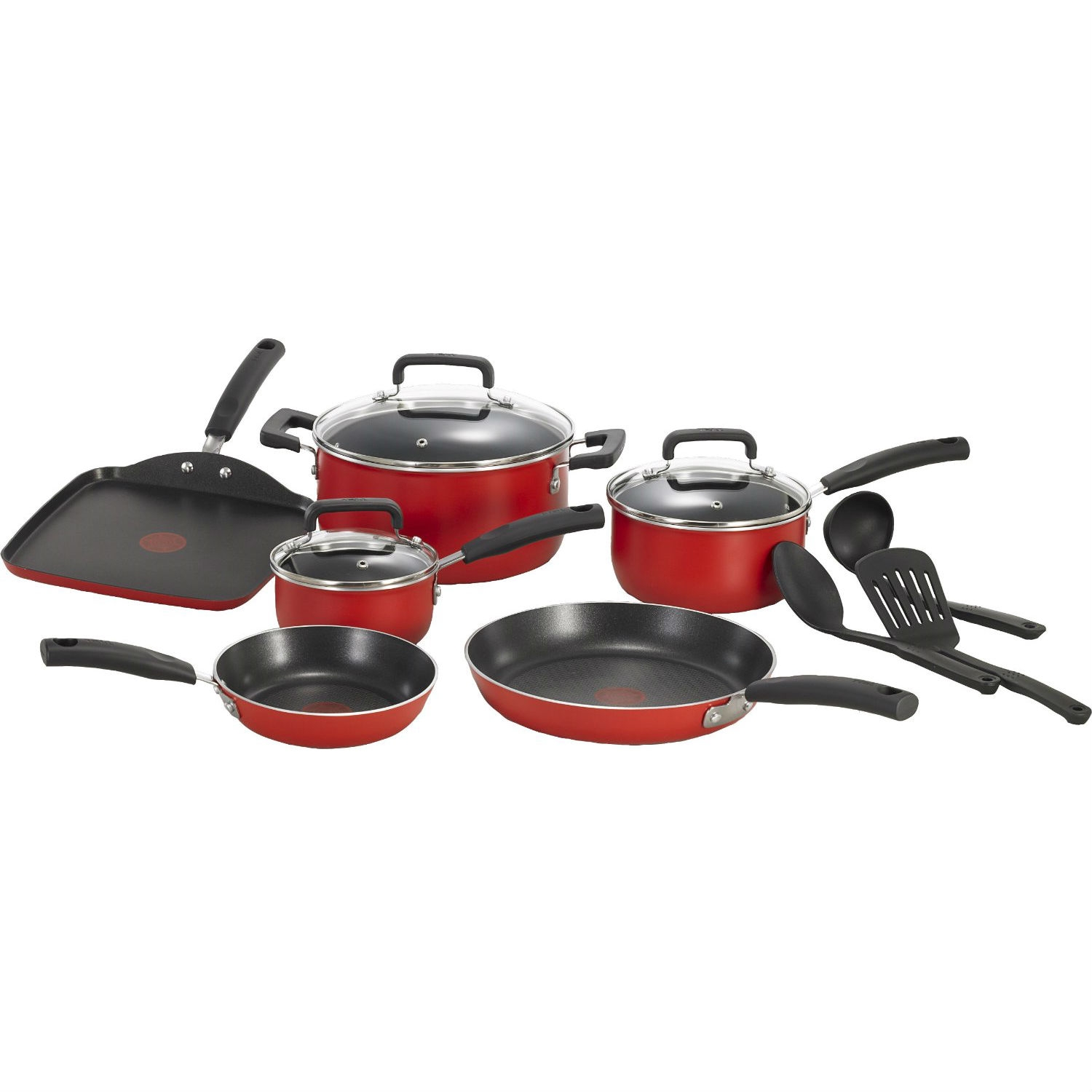 this 12piece nonstick cookware set in red would be a great addition to your