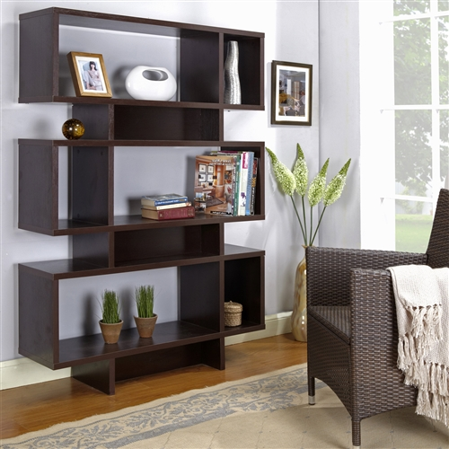 Classic shelving gets a modern update with the 63 inch contemporary Bookcase's geometric cubbies. Store books, pictures, and vases with this versatile design that pairs form with function.