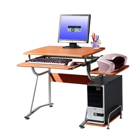 This Compact Contemporary Computer Desk in Light Cherry Finish saves space with its compact footprint. It has a simple yet sturdy design made of heavy-duty engineered wood panels with a moisture resistant PVC laminate veneer and a scratch-resistant powder-coated steel frame. It features a slide-out keyboard shelf equipped with a safety stop, a side accessory shelf, and a side CPU shelf with a protective bar. The slide-out keyboard shelf, bottom CPU storage shelf, and accessory shelf each have a 30 lb weight capacity, while the desktop can hold up to 80 lbs. COLOR: Cherry.