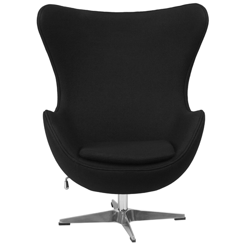 This Modern Black Wool Fabric Upholstered Egg Shaped Arm Chair will become everyone's favorite chair whether it is used in the home or office. The egg chair can be used in the home but will add a distinguished look to your office or lobby for guest seating. The design of this chair is a classic mid-20th-century design that will conform in any era. This chair features a tilt lock mechanism that offers a comfortable rocking/reclining motion. Chair rotates 360 degrees to provide easy access to a greater range of area. The deep and wide seat and back are designed to enclose your entire body. Integrated curved arms; Features a tilt lock mechanism that offers a comfortable rocking/reclining motion; Chair Design: Lounge chair; Seating Firmness: Firm; Frame Finish: Chrome; Upholstered: Yes; Upholstery Material: Wool; Cushion or Upholstery Fill Material: Foam; Pattern: Solid; Contains Flame Retardant Materials: Yes; Non-Toxic: Yes; Removable Seat Cushion: Yes; Removable Back Cushion: No; Reversible Cushions: Yes; Removable Cushion Cover: Yes.