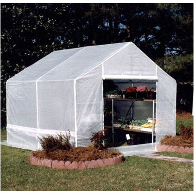 "Royal Canopy Complete Greenhouse (10' x 10'), WKCGH10228 :  10-foot x 10-foot Royal Canopy Greenhouse. The Greenhouse is durable with its 1 3/8-inch frame and bottom rails to give more stability against weather. The Greenhouse has a one-piece rip-stop cover that is UV protected. This cover also has a zippered door and rear vent for ventilation. Optional anchor kit includes (6) 15"" screw-in anchors and 60' of rope; 4 legged 1 3/8"" gray powder coated frame; Special Features: Built-in Vents; Panel Material: Polycarbonate; Frame Material: Aluminum; Sturdy design hold up to strong winds."