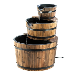 Outdoor Garden 3-Tier Half Barrel Water Fountain, WBF14443 :  This Outdoor Garden 3-Tier Half Barrel Water Fountain would be a great addition to your home. Sparkling waterfalls cascade from spout to spout down the faces of three stacked bushel baskets. Generously sized fountain with genuine wood trim adds bountiful rustic flair to your outdoor surroundings. Number of Pumps Included: 1; Power Source: Electricity; UL Listed: Yes; Assembly Required: Yes; Product Warranty: 30 days; Tools Needed: No tools required; Recirculating Pump: Yes; Material: Wood; Style: Traditional; Function: Floor; Fountain Location: Outdoor/Garden; Pump Required: Yes; Number of Pumps Required: 1; Pump Included: Yes; Powered: Yes; Sound Level: Quiet; Number of Spouts: 2; Portable: Yes; Product Care: Dry completely to avoid cracks.