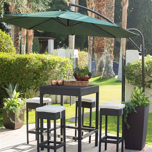 9-Ft Cantilever Offset Patio Umbrella with Forest Green Shade, COU954112 :  Beat the heat from the sun's rays with this 9-Ft Cantilever Offset Patio Umbrella with Forest Green Shade. It's available in three colors, so you can pick the shade that best matches your patio furniture. Each umbrella comes with a powder-coated aluminum pole that can withstand almost anything the environment throws at it, and the bronze coating on the pole gives it a stylish touch. The offset design lets you move the pole to the perfect outdoor spot without worrying about it getting in the way of dining or entertaining. Neutral bronze pole color; Features an easy-to-use crank lift; 100-inch overall height; 9-foot canopy shades 54-inch table; Good quality; Great value; Commercial Grade; Number of Ribs 6; Rotation No; Tilt None; Umbrella Shape Round; Warranty 180 Days.