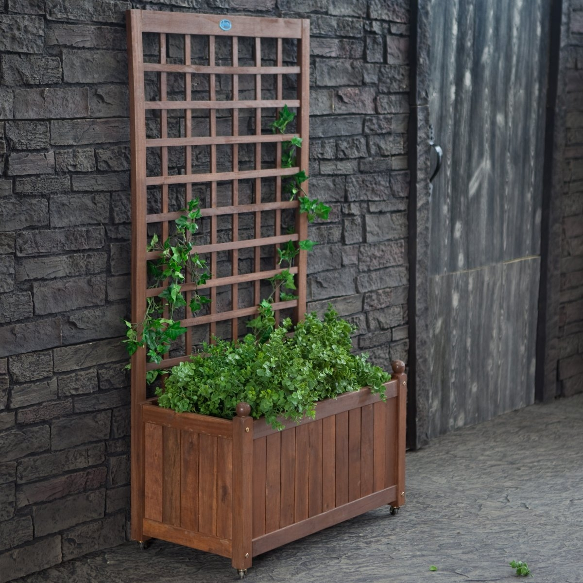Wood Planter Box on Wheels with Grid-style Trellis,  JWPBT1198 :  A handsome way to dress your exterior wall in nature's finery, this Wood Planter Box on Wheels with Grid-style Trellis has a classic design you'll love. It's made of tropical Balau wood that is naturally dense and weather-resistant. The grid-style trellis is the perfect backdrop for climbing vines and flowers and the planter is deep enough to happily grow any number of your favorites. You'll love the natural way it looks and this trellis is on wheels, which makes it a clever and natural screen between you and the neighbors as well. Comes with instructions and hardware.