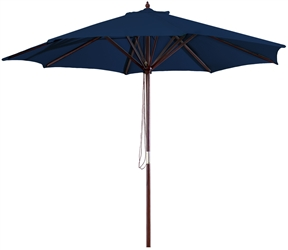 Navy Blue 9-Foot Outdoor Patio Umbrella with Wood Frame and Pulley, NB75815168 :  This Navy Blue 9-Foot Outdoor Patio Umbrella with Wood Frame and Pulley would be a great addition to your home. We recommend to take inside during extreme weather to avoid damage. To clean use a mild soap and water solution. Material: 160G Polyester / Wood frame; Spun polyester canopy; Maintenance free; Fabric is designed to withstand up to 500 hours of direct sunlight. Not intended for Commercial Use, only warrantied for 500 hours of direct sunlight for commercial use .