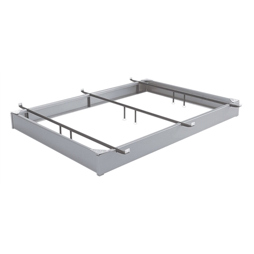 When you want to create a futuristic look in your bedroom, this King size Sturdy Hotel Style Metal Bed Base Bed Frame in Matte Metal Finish will help you set the mood. The steel frame features an aluminum finish for a sleek look, and the narrow frame creates the illusion of a floating bed. Three cross braces extend across the steel frame and clamp onto your box spring to keep the bed stable. The frame comes with a headboard bracket so you can customize the look of your bedroom. Adjustable retainer brackets hold box spring in place; Corners and crossrails lock in place for easy assembly; Headboard brackets are included; Lifetime limited warranty for peace of mind.