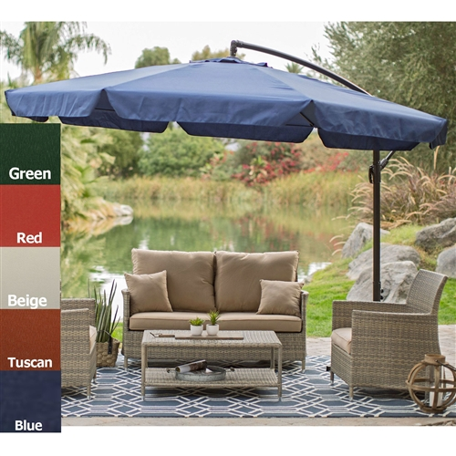 Green 11-Ft Offset Patio Umbrella Gazebo with Canopy Base and Detachable Mosquito Netting, GPU189845618 :  Stay in the shade with this 11-Ft Offset Patio Umbrella in Green with Base and Detachable Mosquito Netting. This large offset umbrella is just right by the pool or spa, or on the patio. Enjoy family meals or conversation with friends under the cool shade of this Coral Coast Offset Umbrella. For additional shade, add this umbrella to larger outdoor conversation or dining tables that don't accommodate umbrellas or have hard-to-reach umbrella holes. Covers 11 feet with shade; Neutral bronze pole color; Fade resistant polyester fabric; Available in a variety of colors; Fabric Type Polyester; Lift Crank;  Number of Ribs 8; Pole Material Steel; Rotation No; Tilt None; Umbrella Shape Round; Warranty 180 Days.