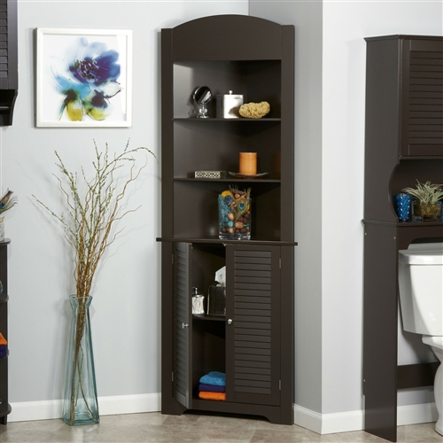 Espresso Bathroom Linen Tower Corner Towel Storage Cabinet with 3 Open Shelves, ESU5198184 :  This Espresso Bathroom Linen Tower Corner Towel Storage Cabinet with 3 Open Shelves helps keep your bathroom neat and organized. The storage tower allows you to store or stack up all necessary bathroom materials that you might need. The contemporary style of the storage tower blends well with most bathroom decors. The Bathroom Linen Tower Corner Storage Cabinet with 3 Open Shelves in White features a MDF wood construction that ensures years of reliable use. The towel tower is available in multiple finishes that allows you to choose the one that best suits your requirements. The storage tower has two open shelves and a closed cabinet that offers multiple storage options. The shelves can be used to store items like a small clock or soaps and shampoos, and different bathroom accessories. The closed storage is perfect to stack up or organize multiple clean towels. The stylish shutter design of the door with classy door knobs enhances the overall look of the tower. The free standing storage tower offers versatile placement options. The vertical storage design provides more storage in less space. The storage unit is easy to care for and can be wiped clean with a damp cloth. The tower proves to be an excellent blend of style and function for your bathroom.  Includes 2 shelves in the bottom cabinet; Convenient corner design with two door shutter styling in a tall cupboard; Interior shelves are adjustable;  Hardware Material: Stainless steel. Shelf Weight Capacity: 25 Pounds; Weight Capacity: 75 Pounds; Country of Manufacture: China; Assembly Required: Yes; Tools Needed for Assembly: Phillips head screwdriver; Installation Required: No; Additional Parts Required: No; CPSIA or CPSC Compliant: Yes; General Conformity Certificate: Yes;  ISTA 3A Certified: Yes.
