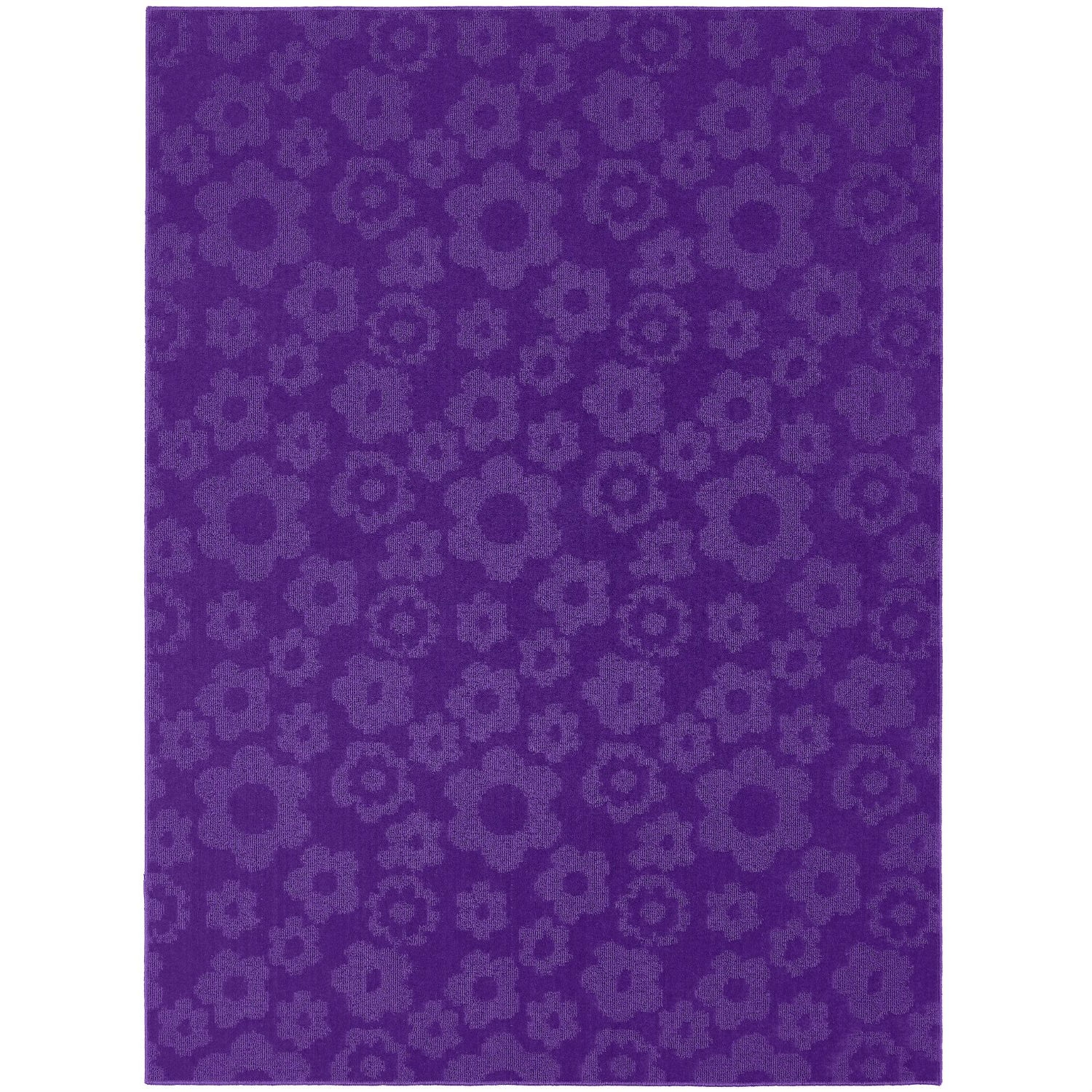 5' x 7' Purple Area Rug with Floral Flowers Pattern - Made in USA, G5X7P3897 :  Designer rugs do not have to break the bank. This 5' x 7' Purple Area Rug with Floral Flowers Pattern - Made in USA is a machine tufted cut and loop rug in a cute retro flower pattern in fun colors that will beautify any children's room or dorm room. This rug also has the added benefit of being treated with an Odor Eliminator. Rug Magic is not a deodorant that masks odor, but a technology that chemically absorbs and decomposes gases from the odor source over a period of time. Rug Magic can be effective in helping to control odor buildup from substances in the home and office. Rug Magic is odorless and completely non-toxic and safe for pets and children. This rug is proudly Made In The USA.