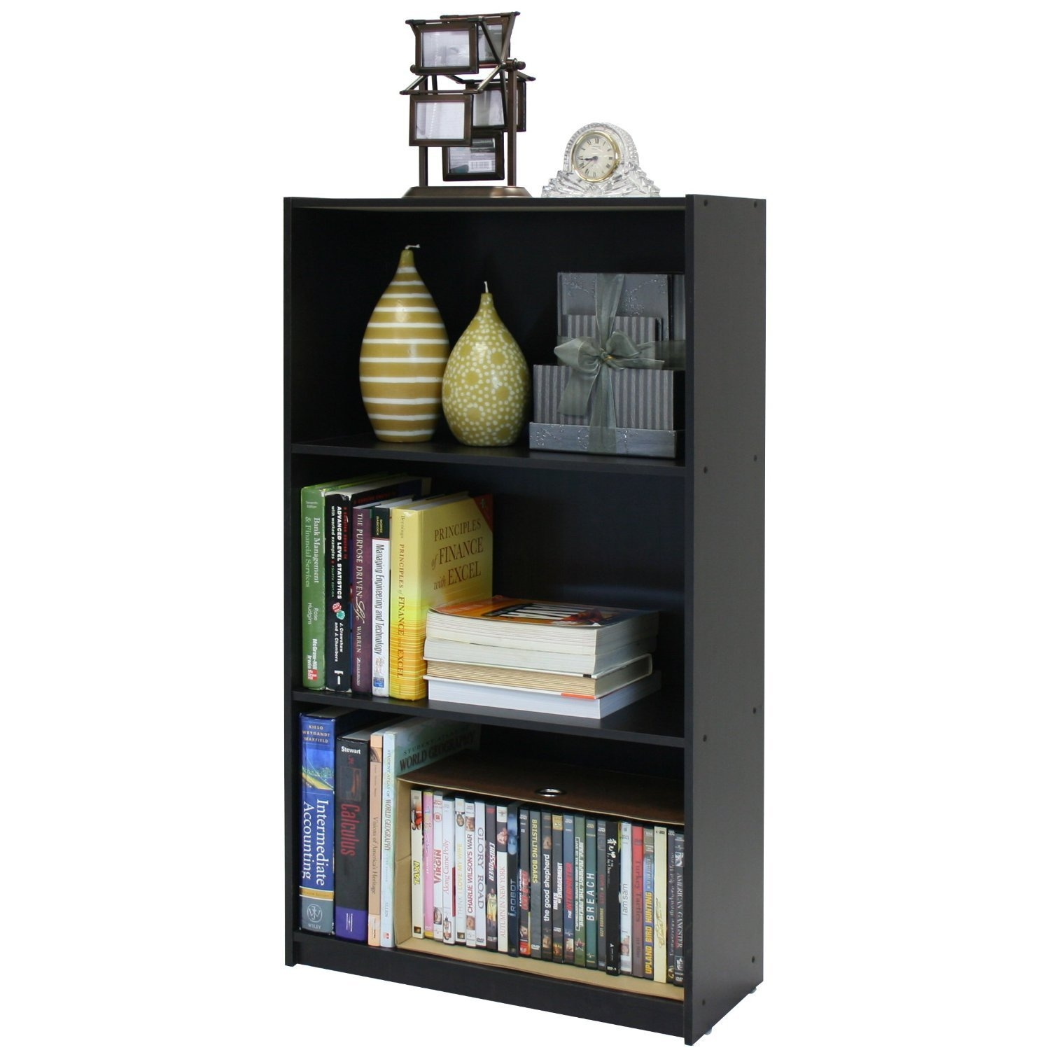 This 3-Tier Bookcase Storage Shelves in Espresso Finish is designed for casual and stylish look. The materials comply with e1 grade particle board for furniture. There is no foul smell of chemicals, durable and it is the most stable particleboard used to make rta furniture. Care instructions: wipe clean with clean damped cloth. Avoid using harsh chemicals. We are pleased to send you the replacement part free of charge. Pictures are for illustration purpose. All decor items are not included in this offer. Pictures are for illustration purpose. All decor items are not included in this offer.