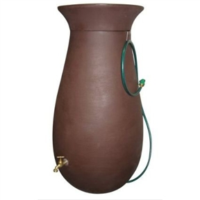 65-Gallon Dark Brown Rain Water Collection System, CRWC65G15719 :  This 65-Gallon Dark Brown Rain Water Collection System combines the timeless aesthetic elegance of ceramics with the enduring durability of modern plastics. This 65-gallon rainsaver is constructed from tough, roto molded plastic able to withstand extreme temperatures and will not chip, fade, or crack over time. The rain barrel comes with a 6-foot garden hose with shutoff nozzle, corrosion-proof screen guard, brass spigot, and easily removable crown planter on top. It's double-walled for supreme strength. The hose hangs neatly on the attached hook. Double-walled crown planter included; Some assembly required; 20-year limited warranty on barrel only.