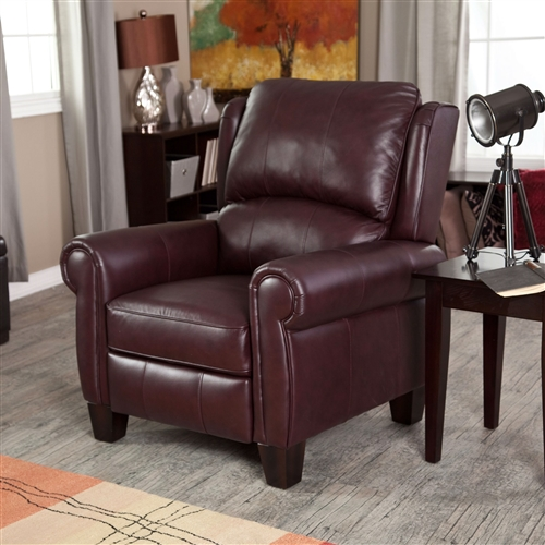 Fill your space with this Burgundy Top-Grain Leather Upholstered Wing-back Club Chair Recliner and lie back in pure, blissful comfort. Every home needs one reliable recliner for the family to fight over. This medium softness cushion offers seating everyone can enjoy. The classic wingback design is upholstered with high-quality top-grain leather that will last for years of lounging. With a frame constructed of pine and plywood, this is a recliner you can count on to stand the test of time. Decorative stitching accentuates the curved arms and wing back design. The chocolate brown color will easily blend to any decorating motif this guy is added to, be it a traditional one or even a more modern aesthetic.