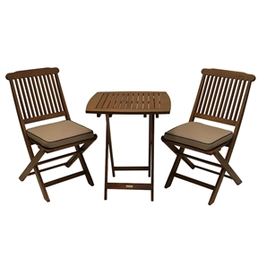 "3-Piece Bistro Outdoor Patio Furniture Set with Chair Cushions, OEP916513 :  Enjoy relaxing on your 3-Piece Bistro Outdoor Patio Furniture Set with Chair Cushions immediately when this fully assembled 3 piece set arrives. This stylish and affordable set offers a long lasting enjoyment. Included is one square table (23.5x23.5), two chairs and two cushions. Sturdy and sleek makes this combo a perfect addition to any patio or yard. Set includes fully assembled 23.5"" sq. table and two chairs; 23.5x23.5x28.5 Table; Table and Chairs fold easy handling and storage; Made from plantation grown dense and durable Eucalyptus hardwood."