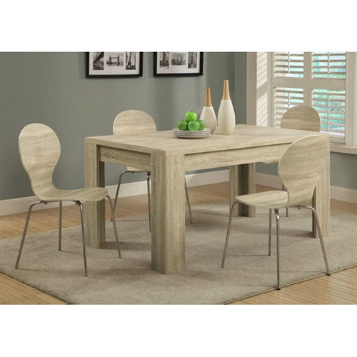 Add a classic touch to your decor with this Contemporary 59 x 35.5-inch Dining Table in Natural Wood Finish. The dining table is made from wood, which provides a long life. The multiple finishes available of the table enhance its overall look and appear stunning. The Contemporary 59 x 35.5-inch Dining Table in Natural Wood Finish is best suited for the contemporary style home settings and blends in naturally. The rectangular shape with four legs provides comfortable space for all the dining needs. The table can be put to multiple applications, a small family gathering, or just for a quick card game. The dining table will decorate your dining area and enhances its beauty. Chairs are not included; Top Material: Wood; Base Material: Manufactured wood; Leaf Included: No; Table Base Type: Four leg; Product Care: Wipe clean with a dry cloth. Leaf Included: No; Weight Capacity: 100 Pounds; Commercial Use: No; Eco-Friendly: No; Country of Manufacture: Taiwan, Province of China; Assembly Required: Yes. Product Warranty: 1 Year for parts.