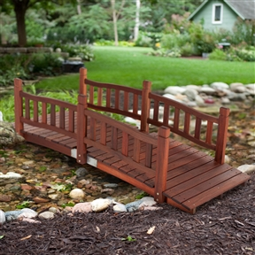 Durable Red Shorea Wood 6-Ft Garden Bridge with Hand Rails, B6FTGB518765 :  There's nothing more whimsical or enchanting than a bridge in the midst of beautiful foliage. If you've got the perfect garden, make it even more perfect with this Durable Red Shorea Wood 6-Ft Garden Bridge with Hand Rails. This bridge is crafted of genuine red shorea wood, a durable tropical hardwood that offers lasting style and stability. The classic look will blend with any garden, with traditional rails and posts recalling days gone by. The wood is guarded by a protective oil finish. Bridge the style gap!