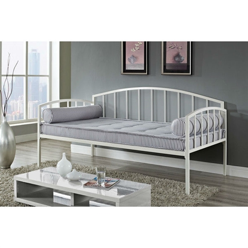 Perfect as a sofa or as a sleeper, this Twin size White Metal Contemporary Daybed - 400 lb Weight Capacity is the perfect addition to any room setting. Its white metal frame and clean, curved design coordinates well with other pieces to best compliment any room décor. This versatile twin-size daybed offers extra seating and sleeps one comfortably. Sturdily constructed, the bed includes metal slats and supporting legs for added support and comfort. No box spring is required with this style of bed.