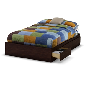 This Full-size Modern Platform Bed with 3 Storage Drawers in Havana Brown would be a great addition to your home. It has a Havana finish and there is no box spring required. Recycled CARB compliant laminated particle board construction; Product Warranty: 5 year limited warranty; EPP Compliant: Yes; CPSIA or CPSC Compliant: Yes; ISTA 3A Certified: Yes.