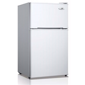 This 3.1 Cubic Foot Refrigerator with Top-Mount Freezer in White would be a great addition to your home. Included: manual, wire shelf, crisp drawer. 3.1 cu.ft. net capacity . Double door: separate fridge and freezer compartments . Adjustable thermostat . Top mount . Manual defrost . HCFC-free . Reversible doors . Slide-out wire shelf for storage versatility . Transparent vegetable storage drawer with glass shelf . Flush back design for space saving . Adjustable thermostat . Front leveling legs . Can dispenser and tall bottle rack . Freestanding application . Energy Star / UL . Input voltage: 115V / 60Hz . Power Input: 80W / 1.0 Amp . Refrigerant: R600a, 1.13 oz. . Noise output: 40-44 db. No assembly required . Door space requirement (open fully): 36.25W x 37D in. . Freezer interior dimension: 14.25W x 15D x 7.75H in. (0.96 cu.ft.) . Fridge interior dimension: 15.5W x 15.5D x 18.75H in. . Compressor step: 5D x 7.5H in.. 18.5 in. L x 19.875 in. W x 33.5 in. H (59.5 lbs.) Flush back, compact design is ideal for college dorm room or office. Reversible doors offer versatility. Features separate freezer and fridge compartment, adjustable thermostat and fresh food section.