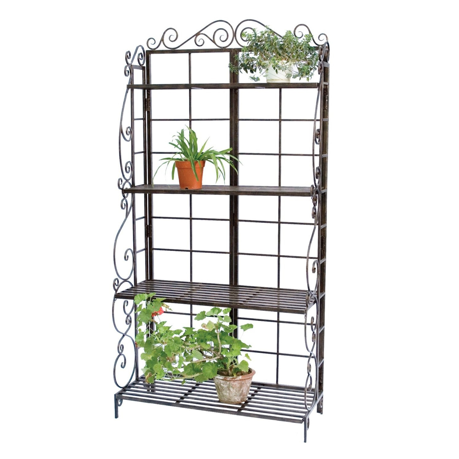 This Sturdy Metal Bakers Rack Plant Stand in Brushed Bronze Black has four shelves which create storage or display room for several potted plants and garden ornaments. The two bottom shelves are 16 Inches wide, for larger pots or tools, while the third shelf, at 12.5 Inches wide, can accommodate items 11 Inches or smaller in diameter. The 9.25 Inches wide top shelf holds small pots, while its unobstructed top allows your plants to grow tall. Powder coated finish; Made of steel and metal construction will withstand the elements, for a sturdy holder year after year.