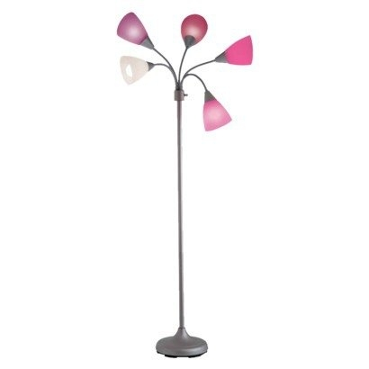 Pink 5-Light Contemporary Floor Lamp with Multi Color Cone Shades, REFL419514 :  Add a splash of color and style to your space with this Pink 5-Light Contemporary Floor Lamp with Multi Color Cone Shades. A great accessory for any bedroom, dorm room, or loft! Body Material: Metal; Shade Material: Plastic; Features: 5 Adjustable Heads; Lamp Color: Silver; Shade Color: Multi-Colored; Shade Shape: Cone.