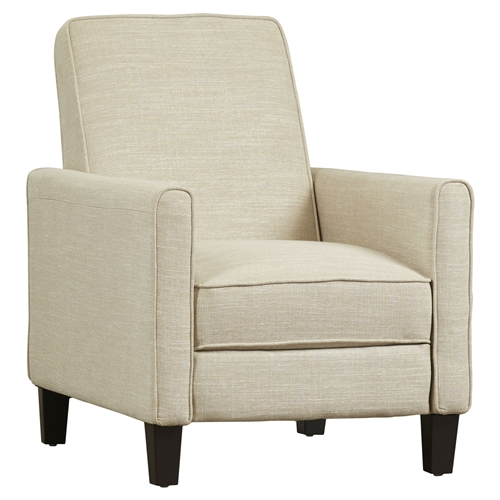 Curl up with a cozy blanket and good book in this Club Chair Recliner Lounge in Light Beige Linen Upholstery or grab some snacks and sit down to enjoy the big game. Needs about 2 feet in front and behind the recliner for adequate space; Chair does need to have clearance between the chair and the wall in order to recline; To clean, use stain removing cleaners such as 409; Fabric material: Linen; Upholstery Material: Other; Polyester/Polyester blend; Frame Material: Wood; Design: Club Recliner; Swivel: No; Assembly Required: Yes; Product Warranty: 90-day manufacturer's warranty; Design: Club Recliner; Swivel: No; Style: Modern; Scale: Small Size Recliner; Non-Toxic: Yes; Heating: No; Cushion or Upholstery; Fill Material: Foam; Removable Seat Cushion: No; Removable Back Cushion: No. Rocker: No; Wall Hugger: No; Power Recline: No. Reclining Mechanism Details: Push Back Mechanism; Required Back Clearance to Recline: 25 Inches; Footrest Included: Yes; Retractable Footrest: Yes; Back Type: Cushion back; Tight back ; Arm Type: Track arms; Round arms.