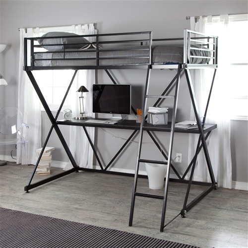 Your kid will be living in the future when you add this Black Metal Twin size Bunk Bed Loft with Desk and Ladder to his or her room. The bed is large and comfortable for a good night's sleep, and the tough metal frame gives it a sturdy base for safety and stability. This futuristic bed is raised high off the floor to allow space for a work desk or play area underneath. Guard rails are fixed firmly to the sides to prevent falls. 320 lb. weight capacity on bunk; 175 lb. desk weight capacity; Mattress should not exceed 7 inches deep.