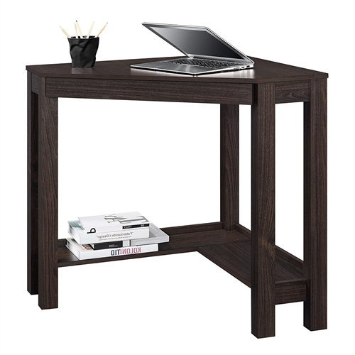 This Espresso Corner Desk Home Office Laptop Writing Table with Drawer allows you to optimize your workspace and that empty corner in your office or den with its convenient triangle shape. This Corner Desk has the classic parsons styling that includes a simple silhouette with clean lines. The Desk features a center storage drawer that's perfect for pens, paper, computer peripherals and other small office supplies. Large pull-out drawer provides ample room to store your office supplies and helps to prevent clutter.