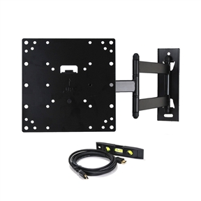 "This TV Wall Mount Swivel Articulating Arm for 23-37in TVs or Monitors is a mounting solution for most 22""-37"" midsize flat panels and some models up to 42inch with VESA 200x200/200x100/100x100mm (8""x8""/8""x4""/4""x4"") mounting hole patterns. Its 9 lbs heavy gauge steel construction provides safety loading up to 66lbs display. The high-tech look mount offers 15 degrees up and down tilt, 180 degrees of swivel and extension up to 20 inch for viewing angle and TV placement adjustment. The removable VESA plate can be taken off for easy installation. Common wall and TV attachment hardware, 6"" 3-Axis Magnetic Bubble Level and free HDMI cable shipped with this articulating mount. Promotion: Please report to amazon.com if you receive a mount without VideoSecu logo."