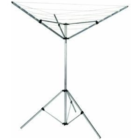 3-Arm Portable Umbrella Style Laundry Dryer Clothes Drying Rack, HE3APUS3659 :  Pre-strung with 64 feet of vinyl clothesline on a space-efficient umbrella-shaped frame, this 3-Arm Portable Umbrella Style Laundry Dryer Clothes Drying Rack can go anywhere from the laundry room to the backyard. The lightweight design features a two-piece aluminum center post with a snap lock perched on a expandable tripod base. A single action opens and closes the dryer for easy use and storage, and the drying lines are arranged in three sections of six lines each for efficient hanging. Open, the dryer measures 52 inches in diameter by 72 inches high, which allows for hanging bigger items like sheets and towels. Portable indoor/outdoor clothing dryer in space-efficient umbrella design