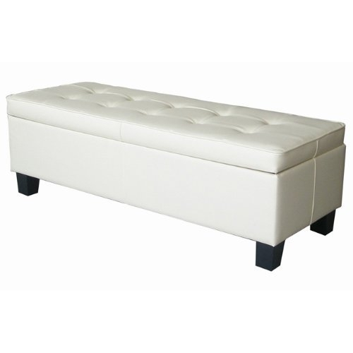 Cream Off-White Faux Leather Tufted Top Storage Bench Ottoman, OWSB117951 :  Bring the contemporary charm of this Cream Off-White Faux Leather Tufted Top Storage Bench Ottoman to your home. It will fit right in with its neutral off-white faux-leather material and contrast stitching. A match for any décor, the rectangle shape and size of the ottoman provide enough convenient storage under the top for any room and is easily accessible with locking hinges. With its style and function, soft and durable upholstery and clean, sleek look, the Ottoman will feel like home. Wide storage compartment; Lightweight for easy handling; Weight limit 200lbs. Contemporary design with beautiful contrast stitching; Delivered to your home.
