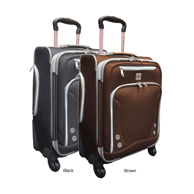American Airlines 21-inch Luggage Spinner Upright Carry-on, AAS21SU5775 :  This American Airlines 21-inch Luggage Spinner Upright Carry-on has a 360-degree spin-wheel system that allows free movement in all directions. Also, the Expanding feature adds 20-percent more packing capacity. Single upright luggage features the American Airlines logo; Push-button retractable handle; Interior top hanging zipper pocket and dual buckle tie-belt; Extra zipper mesh pocket for more convenience; Multi front zipper pockets for extra packing capacity; Water bottle pocket on side; Elegantly imprinted full interior lining; Super lightweight construction; EVA foamed front panel; Available in a black color option; Model number AF-8922-BK.