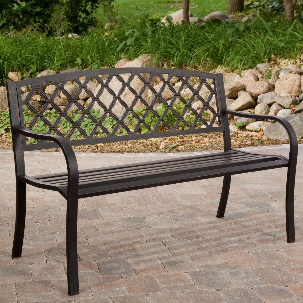 4-Ft Metal Garden Bench with Bronze Highlights over Antique Black Finish, C4FTGB10998 :  This 4-Ft Metal Garden Bench with Bronze Highlights over Antique Black Finish would be a great addition to your home. A classic addition to your beautifully-tended garden, you will be able to sit down and enjoy those fine summer days while drinking in the sights, sounds, and smells of your beautiful landscape. This bend is made of tubular steel to withstand even the harshest of elements and features a powder-coated antique black and bronzed finish that blends into any setting. The contoured seats and armrests provide ideal comfort and the backrest has an attractive cross-weave pattern you are sure to love. Made of tubular steel with powder coat; Comfortable, ergonomically designed armrests; 4 ft. curved bench easily accommodates 2 to 3 people.