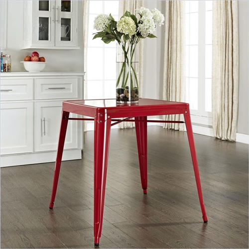 Originally made famous in the quaint bistros of France, these Modern Classic French Cafe Style Metal Dining Table in Red will offer a dose of nostalgia combined with careful consideration for your wallet. This inspired revival evokes a sense of a true vintage find.
