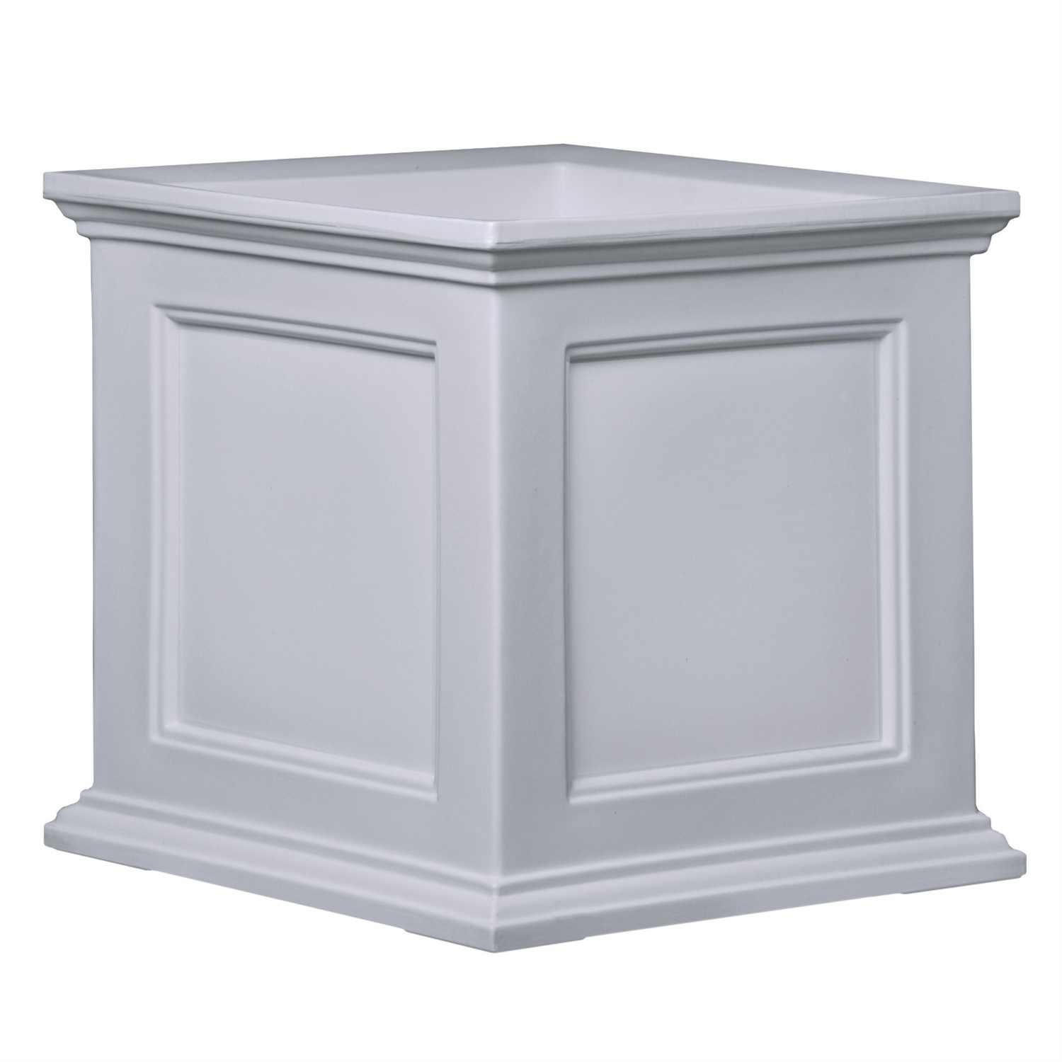 White 20-inch Square Patio Planter Box, 20WSP119 :  This White 20-inch Square Patio Planter Box would be a great addition to your home. Have the look of wood without the upkeep with these high-grade polyethylene planters. Long-lasting beauty, durability and quality. Built-in water reservoir encourages healthy plant growth by allowing plants to practically water themselves. Beautiful New England design adds a charming touch to any patio or deck; Double wall design; Sub-irrigation water system, encourages root growth; 15 Year limited warranty; Drainage Holes: Yes Recommended Plant Type: Flowers; Insect Resistant: Yes Water Resistant: Yes; Warp Resistant: Yes Rot Resistant: Yes; Crack Proof: Yes Fade Resistant: Yes; Anti-Shock: Yes Self Watering: Yes; Capacity: 9.5 gallon Ounces Recycled Content: 0%; Eco-Friendly: Yes Country of Manufacture: United States.