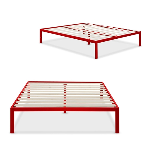 This Full size 14-inch High Platform Bed with Red Metal Frame and Wooden Slats features wooden slats that provide strong support for your memory foam, latex, or spring mattress. 14 inches high with 12 inches of clearance under the frame for plenty of under bed storage space. Openings in two of the legs allow for attaching a headboard to this platform bed. The modern Studio platform bed 1500 provides stylish and strong support for your mattress.