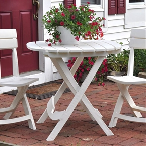 Outdoor Patio Dining Table in White Durable Plastic, WPTF854895 :  This Outdoor Patio Dining Table in White Durable Plastic works well for small parties on the patio or deck. It's also handy beside the grill or to hold food and drinks at picnics. At game time, the Cafe Table is the perfect portable tailgating table. Built in umbrella hole holds most standard umbrellas; Cleaning is simple, just wipe with a damp cloth; Folds quickly and compactly for storage; Lightweight and durable material that will not peel, rust, or rot; Made in USA; Material: High-quality resin; UV inhibitor allows colors to stay bright and attractive in the sun; Table Shape: Rectangle; Seating Capacity: 4;  Table Weight Capacity: 40 Pounds;  Commercial Use: No; Product Warranty: 1 Year warranty against manufacturer's defects,
