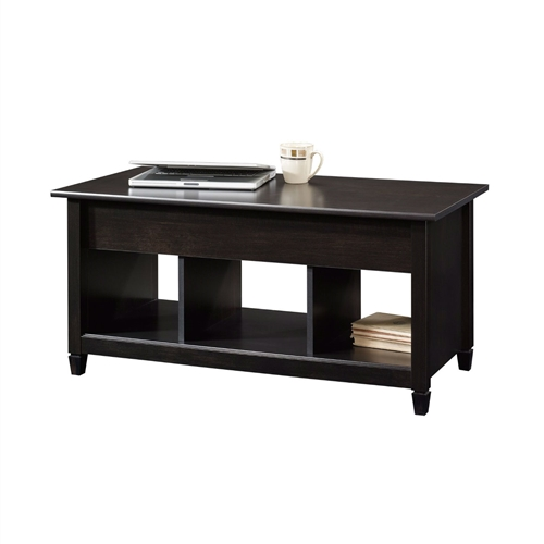 This Black Wood Finish Lift-Top Coffee Table with Bottom Storage Space would be a great addition to your home. Top lifts up and forward - Hidden storage beneath top - Finished on all sides for versatile placement.