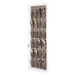 "Door Hanging Shoe Rack Organizer with 24 Shoe Pockets in Java, WJSO198241 :  This easy to assemble Door Hanging Shoe Rack Organizer with 24 Shoe Pockets in Java has 24 pockets in the stylish and popular Java brown color. Store and protect up to twelve pairs of shoes. Instantly de-clutter your closet or bedroom while also saving your shoes from unwanted damage. This shoe organizer is a snap to assemble using the provided hooks and hangs conveniently over standard size doors. Measures: 18""W x 64""H. Sturdy metal frame; Hangs on standard inside doors; Hooks are present within the shoe pockets."