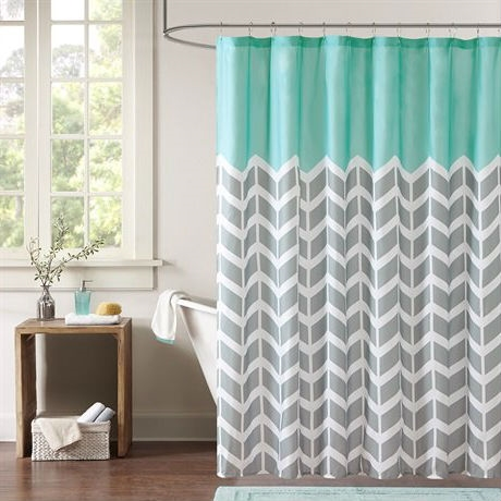 Teal Grey White Zig Zag Chevron Microfiber Shower Curtain, NMPS519815 : This Teal Grey White Zig Zag Chevron Microfiber Shower Curtain makes any bathroom fun and inviting. A gray and white chevron print runs along the shower curtain broken up by white vertical stripes. The rich pop of teal at the top provides a fresh update to your space. 100% microfiber, printed.